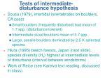 tests of intermediate disturbance hypothesis