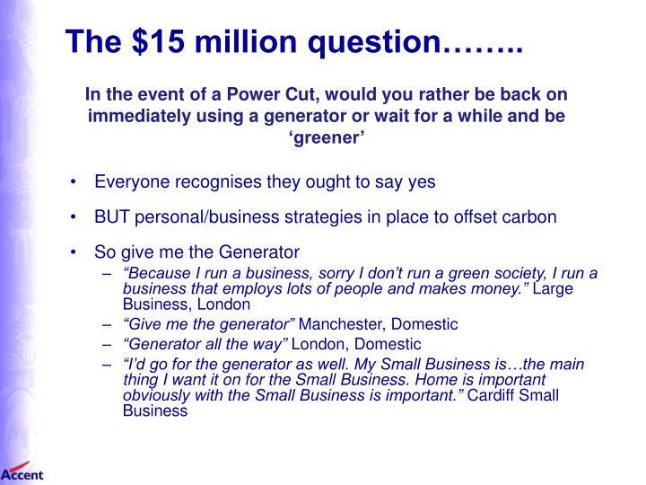 The $15 million question……..