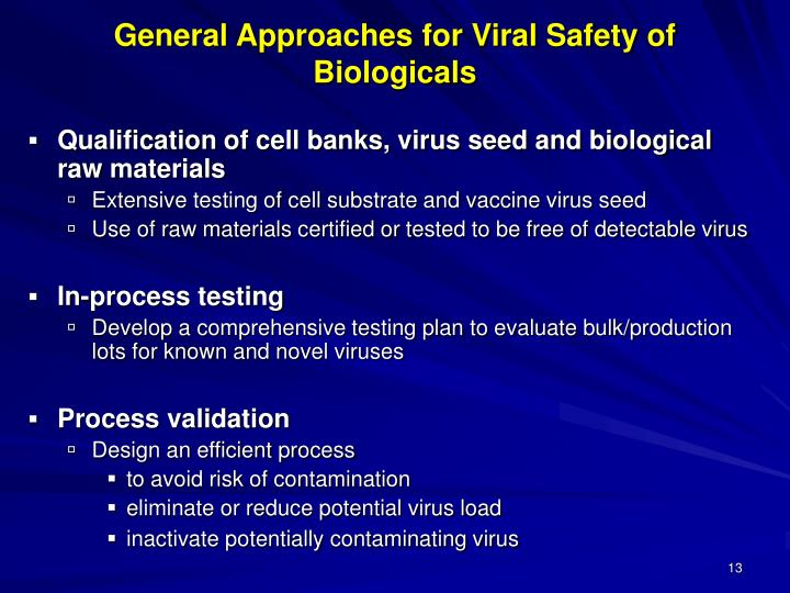 General Approaches for Viral Safety of Biologicals