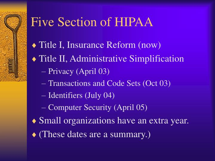 Five Section of HIPAA
