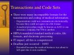 transactions and code sets