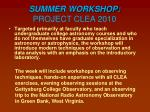 summer workshop project clea 2010