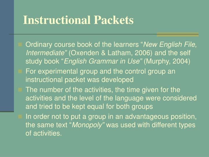Instructional Packets