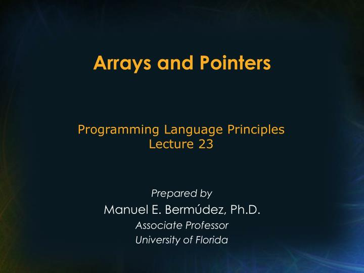 arrays and pointers