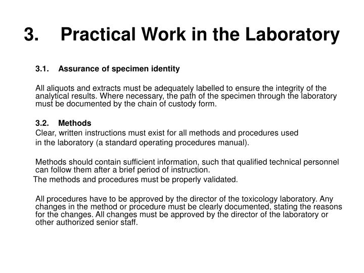 3.	Practical Work in the Laboratory