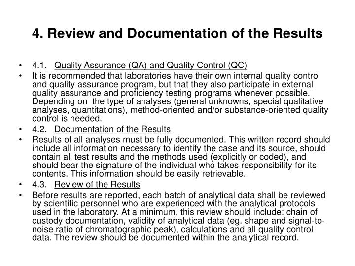 4. Review and Documentation of the Results