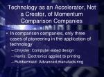 technology as an accelerator not a creator of momentum comparison companies