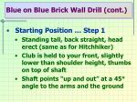 blue on blue brick wall drill cont