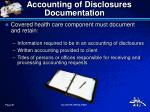 accounting of disclosures documentation