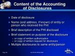 content of the accounting of disclosures