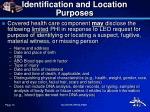 identification and location purposes