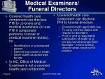 medical examiners funeral directors