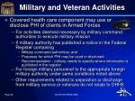 military and veteran activities