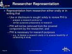 researcher representation