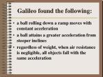 galileo found the following