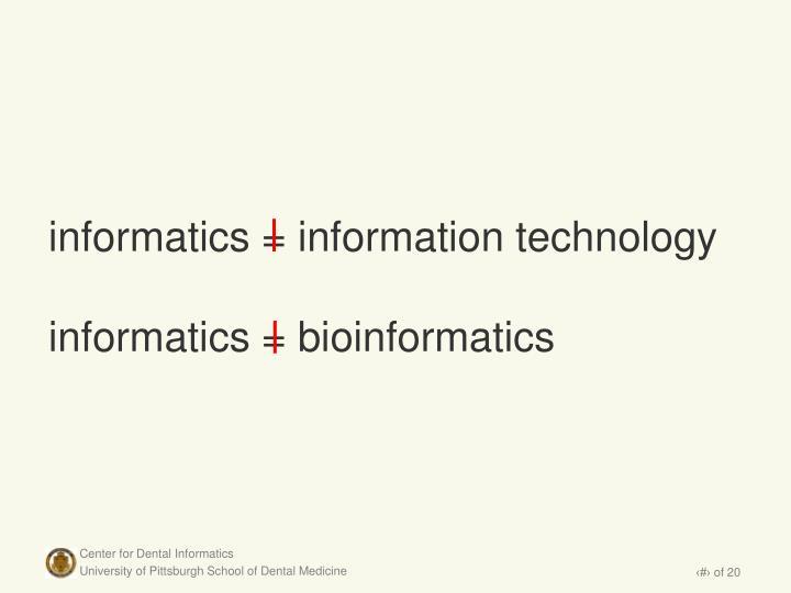 informatics = information technology