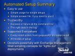 automated setup summary