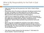 what is my responsibility for the faith in god award