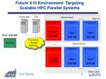 future x10 environment targeting scalable hpc parallel systems