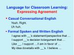 language for classroom learning expressing agreement