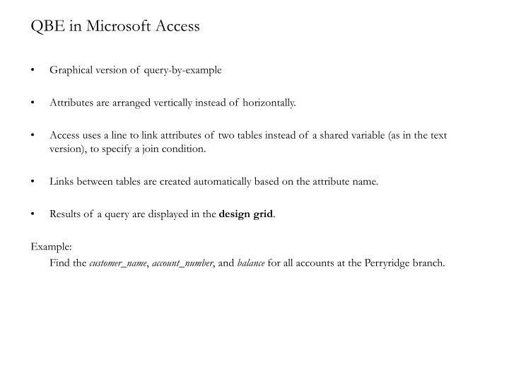 QBE in Microsoft Access