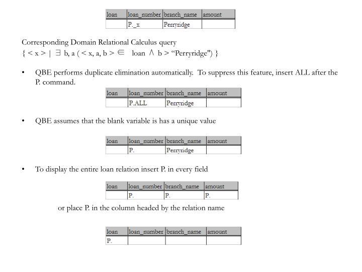 Corresponding Domain Relational Calculus query