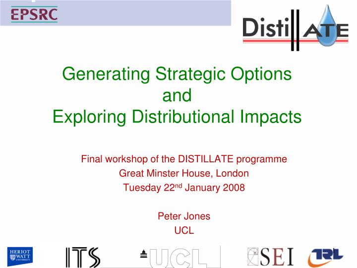generating strategic options and exploring distributional impacts n.