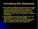 formatting sql statements