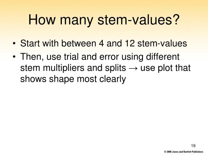 How many stem-values?