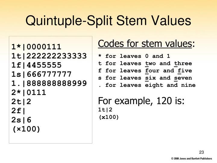 Quintuple-Split Stem Values