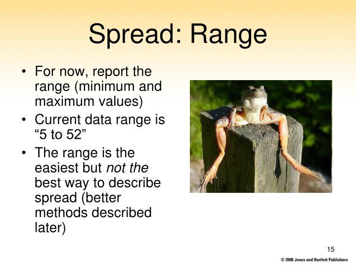 For now, report the range (minimum and maximum values)