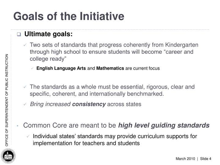 Goals of the Initiative