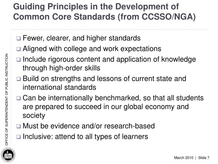 Guiding Principles in the Development of