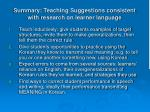 summary teaching suggestions consistent with research on learner language