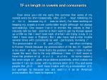 tf on length in vowels and consonants