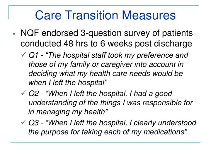 Care Transition Measures