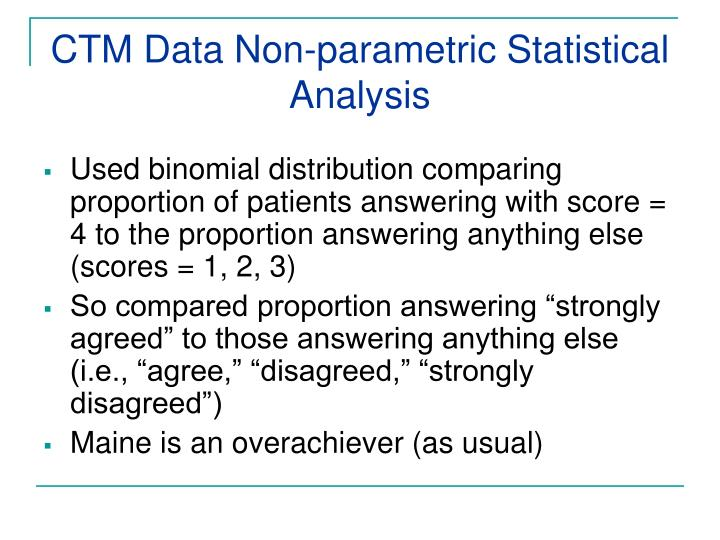 CTM Data Non-parametric Statistical Analysis