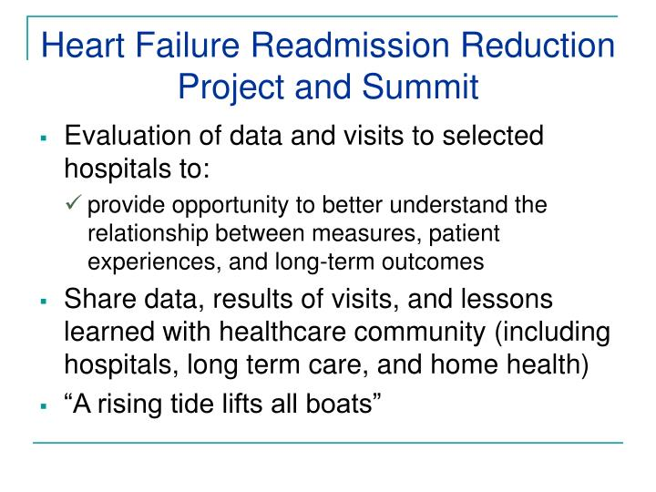 Heart failure readmission reduction project and summit1
