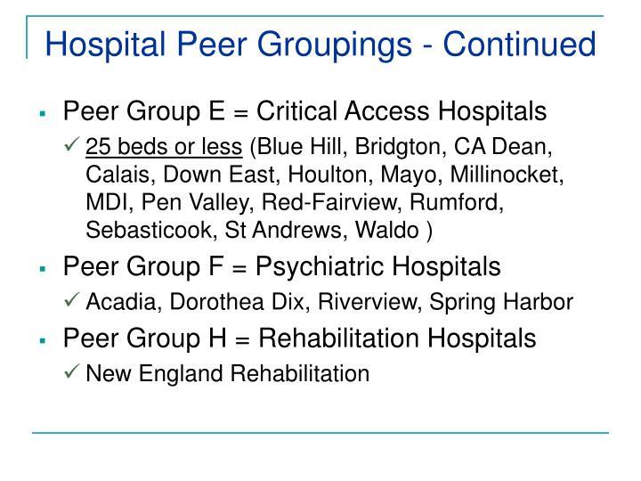 Hospital Peer Groupings - Continued