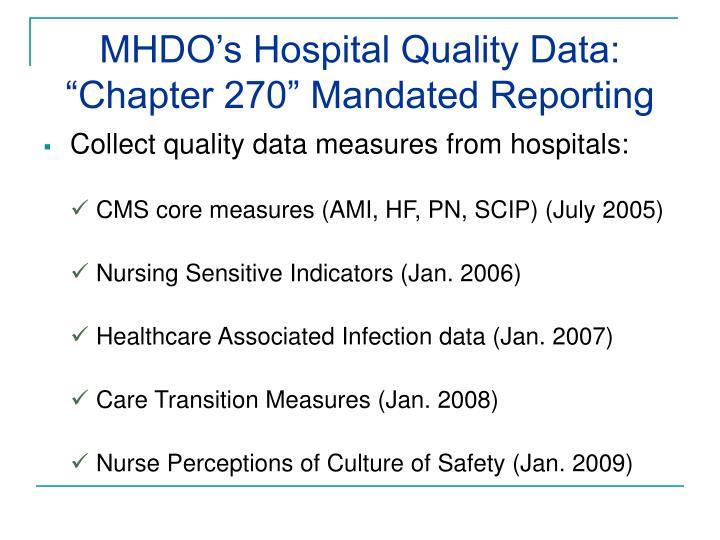 MHDO's Hospital Quality Data: