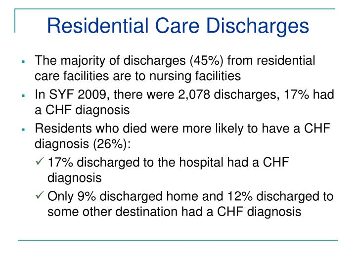 Residential Care Discharges
