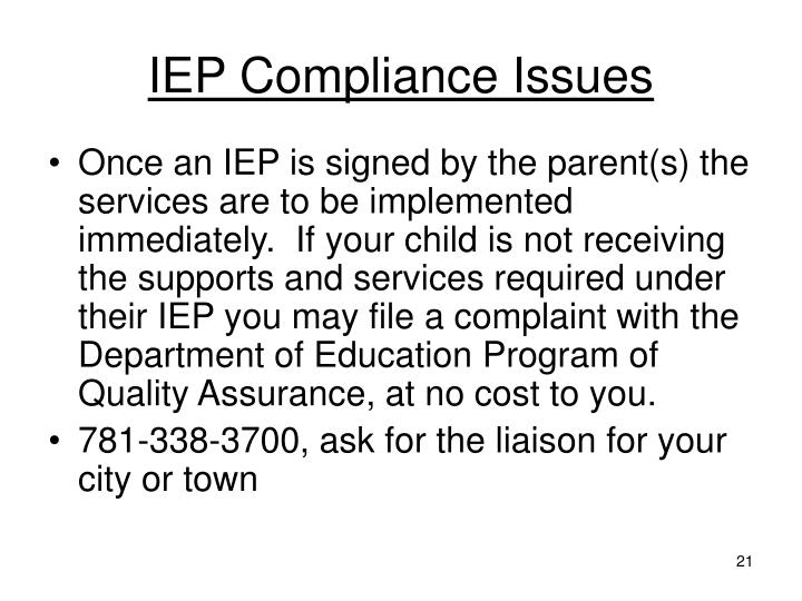 IEP Compliance Issues