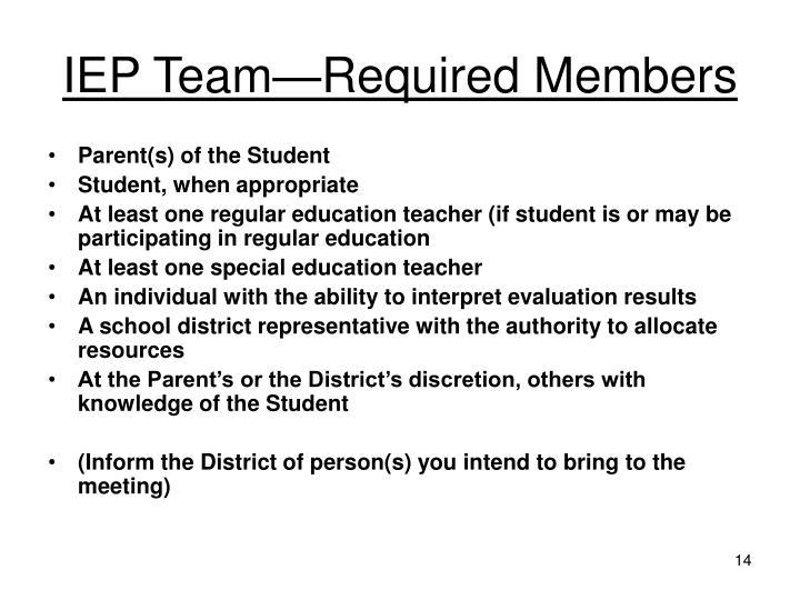 IEP Team—Required Members