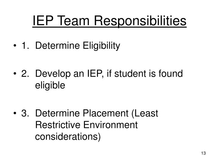 IEP Team Responsibilities
