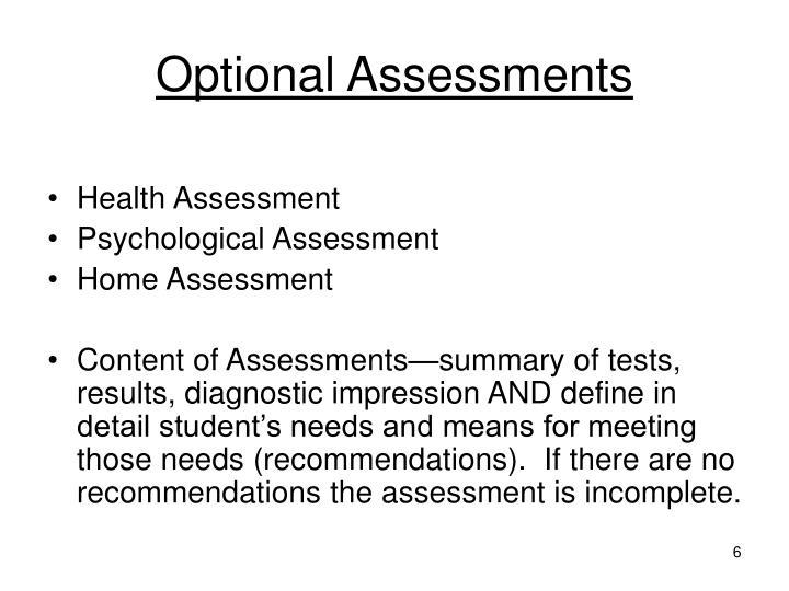 Optional Assessments