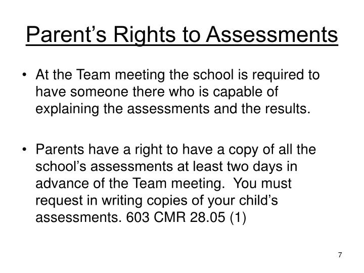 Parent's Rights to Assessments