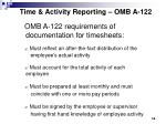 time activity reporting omb a 122