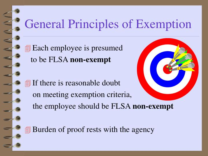General Principles of Exemption