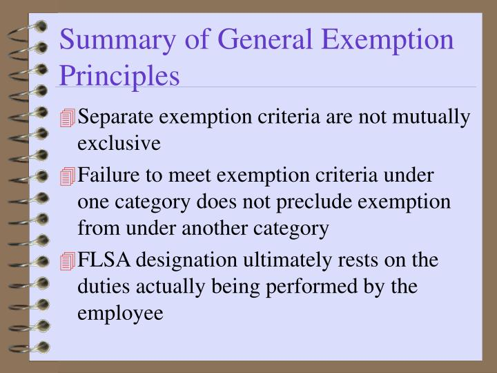 Summary of General Exemption Principles