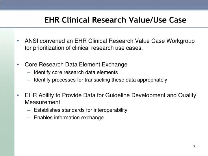 EHR Clinical Research Value/Use Case